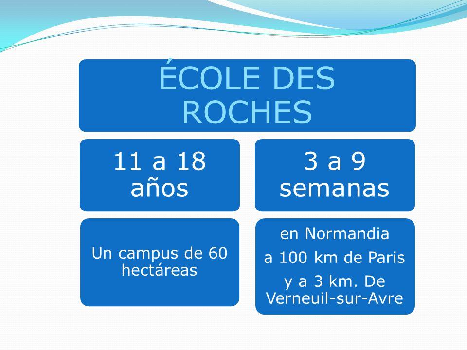 ÉCOLE DES ROCHES 11 a 18 años Un campus de 60 hectáreas 3 a 9 semanas en Normandia a 100 km de Paris y a 3 km. De Verneuil-sur-Avre