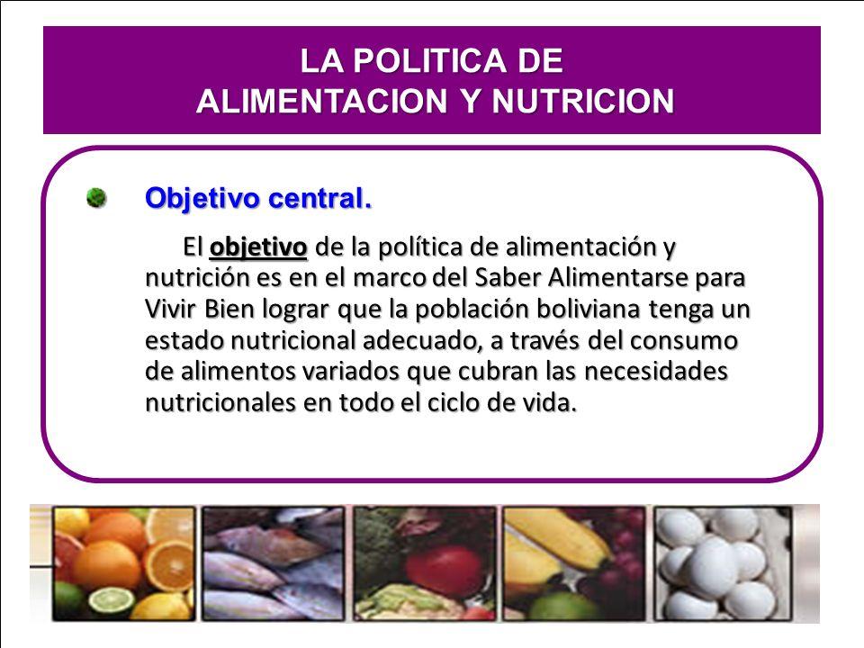 LA POLITICA DE ALIMENTACION Y NUTRICION ALIMENTACION Y NUTRICION Objetivo central. El objetivo de la política de alimentación y nutrición es en el mar