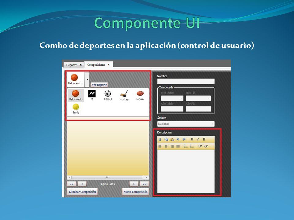 Combo de deportes en la aplicación (control de usuario)