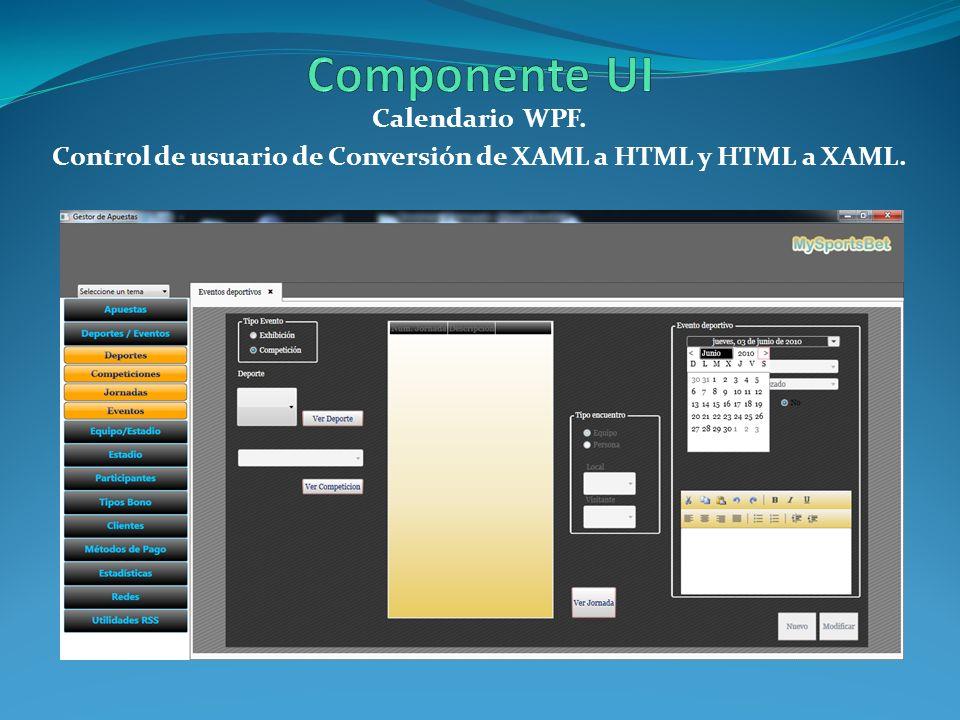 Calendario WPF. Control de usuario de Conversión de XAML a HTML y HTML a XAML.