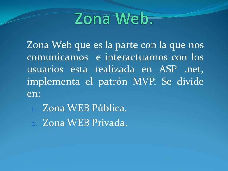 Zona Web que es la parte con la que nos comunicamos e interactuamos con los usuarios esta realizada en ASP.net, implementa el patrón MVP. Se divide en