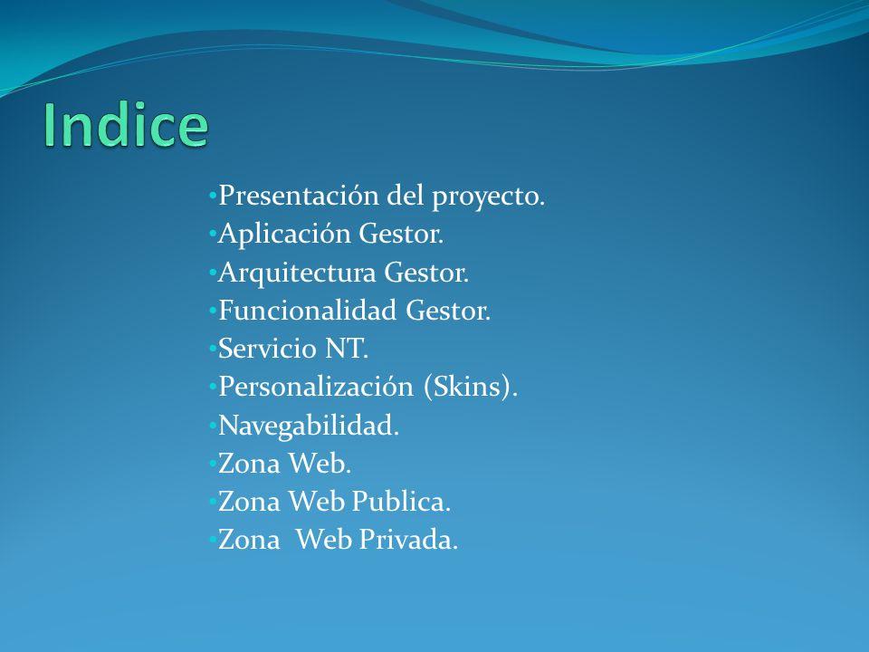 Presentación del proyecto. Aplicación Gestor. Arquitectura Gestor. Funcionalidad Gestor. Servicio NT. Personalización (Skins). Navegabilidad. Zona Web