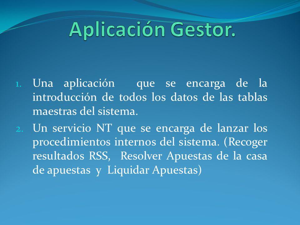 1. Una aplicación que se encarga de la introducción de todos los datos de las tablas maestras del sistema. 2. Un servicio NT que se encarga de lanzar