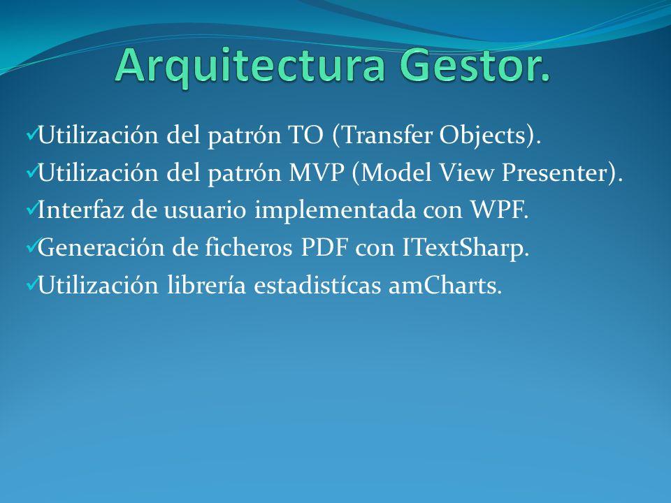 Utilización del patrón TO (Transfer Objects).Utilización del patrón (MVP) Model View Presenter.