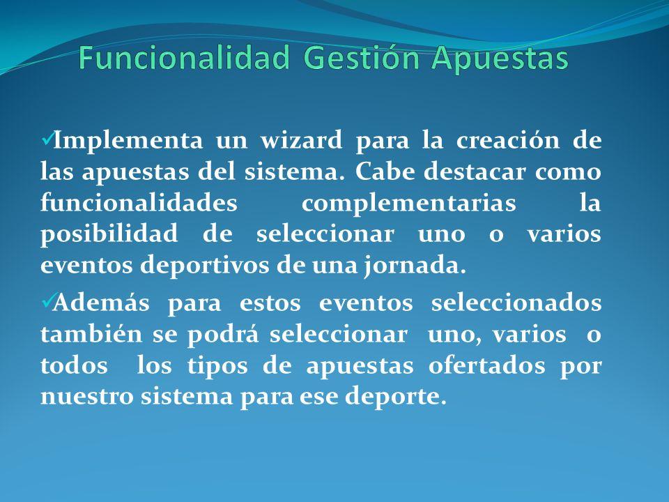 Implementa un wizard para la creación de las apuestas del sistema. Cabe destacar como funcionalidades complementarias la posibilidad de seleccionar un