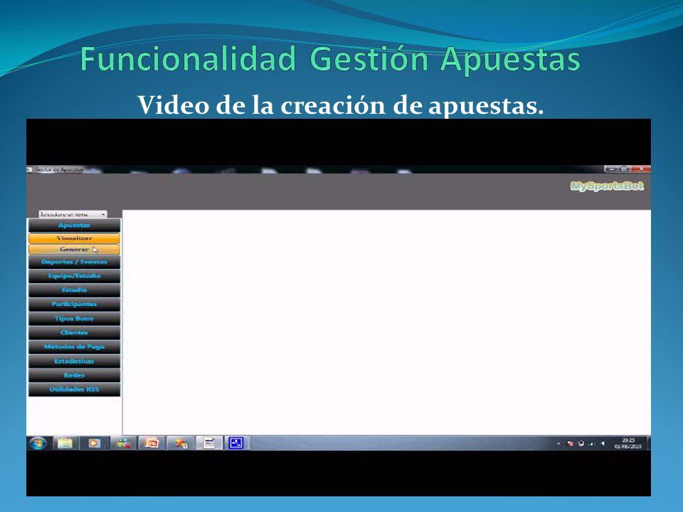 Video de la creación de apuestas.