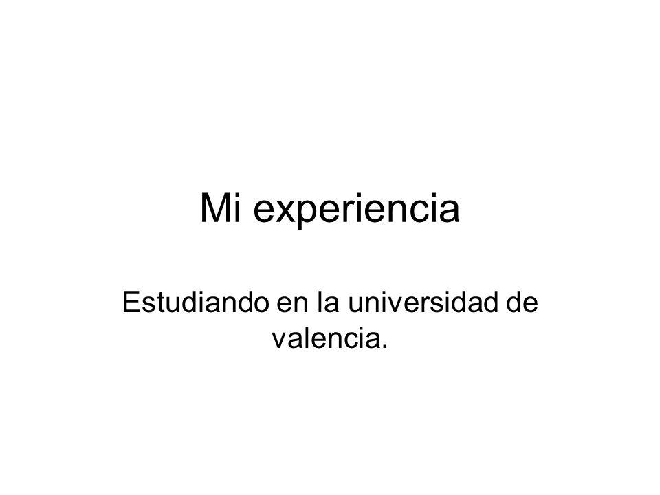 Mi experiencia Estudiando en la universidad de valencia.