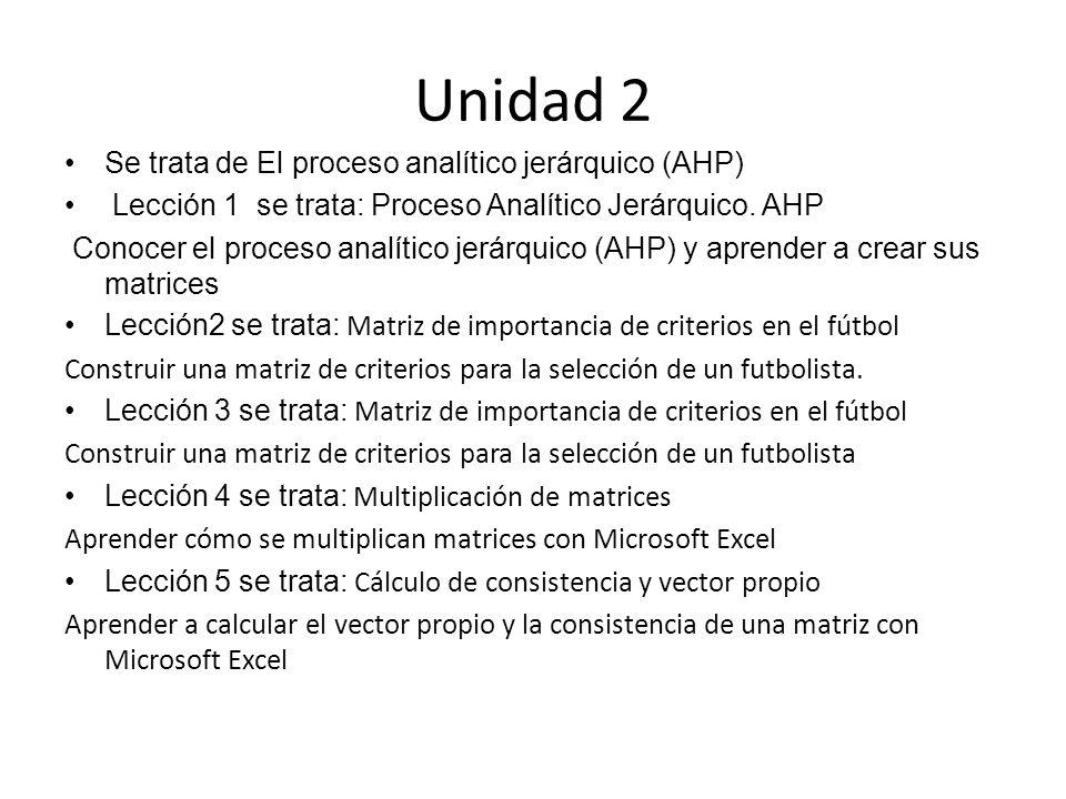 Unidad 2 Se trata de El proceso analítico jerárquico (AHP) Lección 1 se trata: Proceso Analítico Jerárquico. AHP Conocer el proceso analítico jerárqui