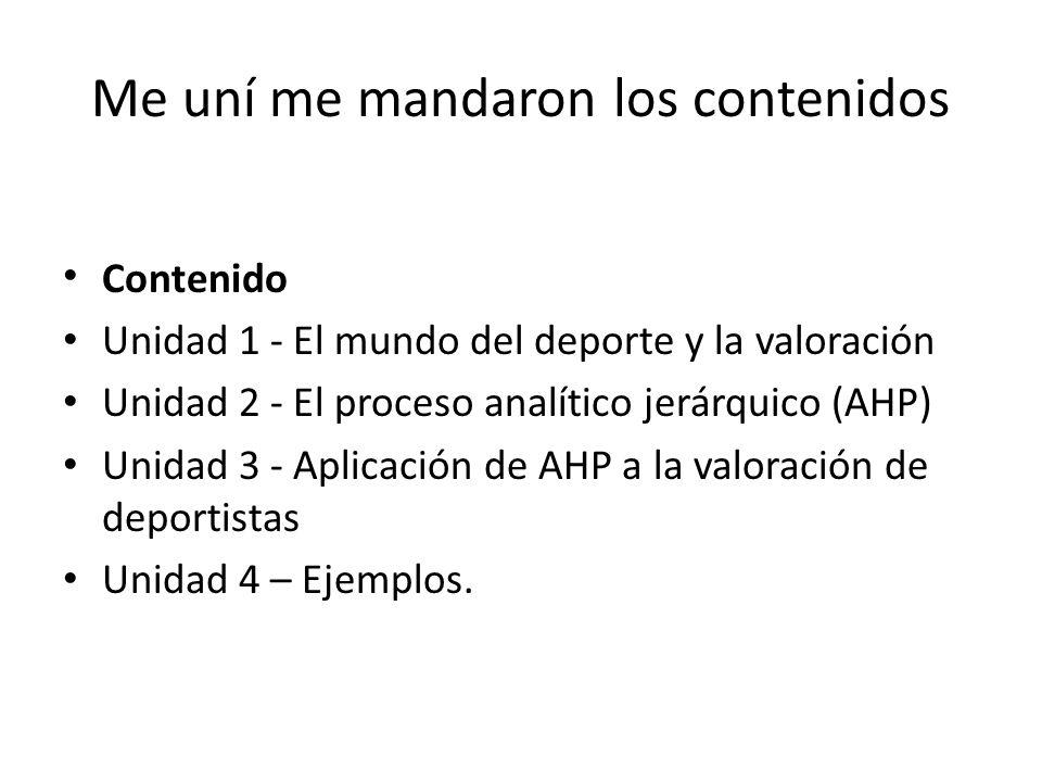 Me uní me mandaron los contenidos Contenido Unidad 1 - El mundo del deporte y la valoración Unidad 2 - El proceso analítico jerárquico (AHP) Unidad 3