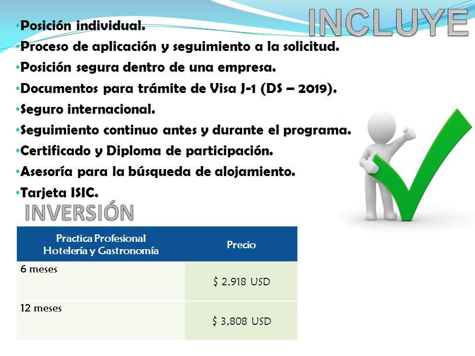 Posición individual.Proceso de aplicación y seguimiento a la solicitud.