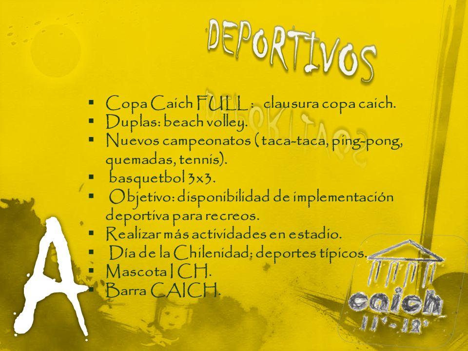 Copa Caich FULL : clausura copa caich. Duplas: beach volley. Nuevos campeonatos ( taca-taca, ping-pong, quemadas, tennis). basquetbol 3x3. Objetivo: d