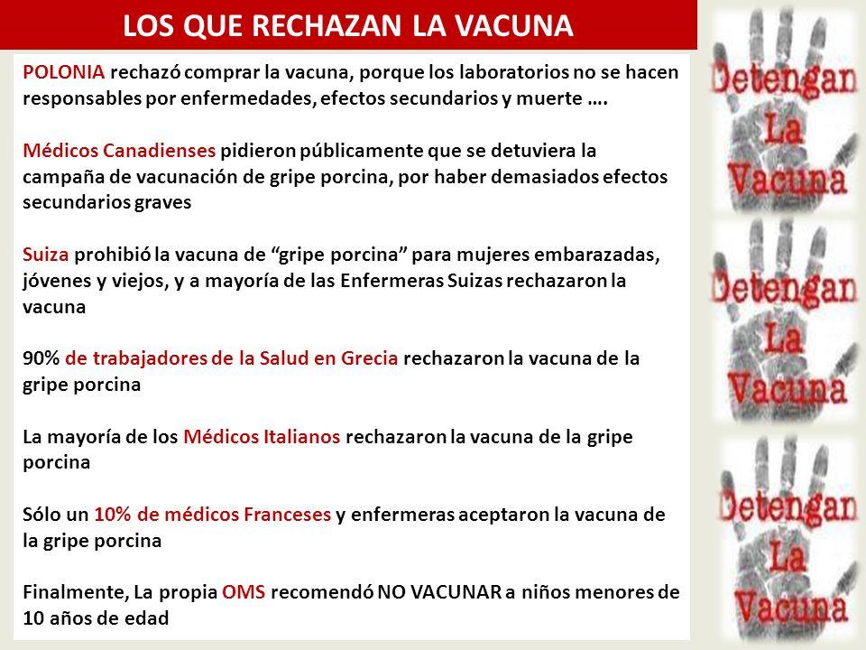 POLONIA rechazó comprar la vacuna, porque los laboratorios no se hacen responsables por enfermedades, efectos secundarios y muerte ….