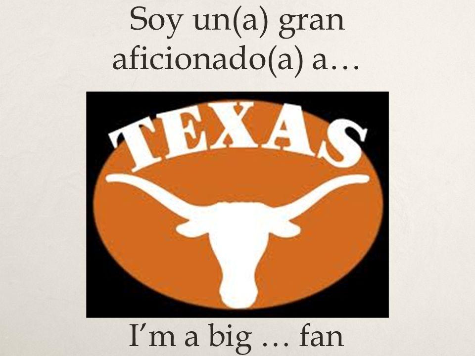 Soy un(a) gran aficionado(a) a… Im a big … fan