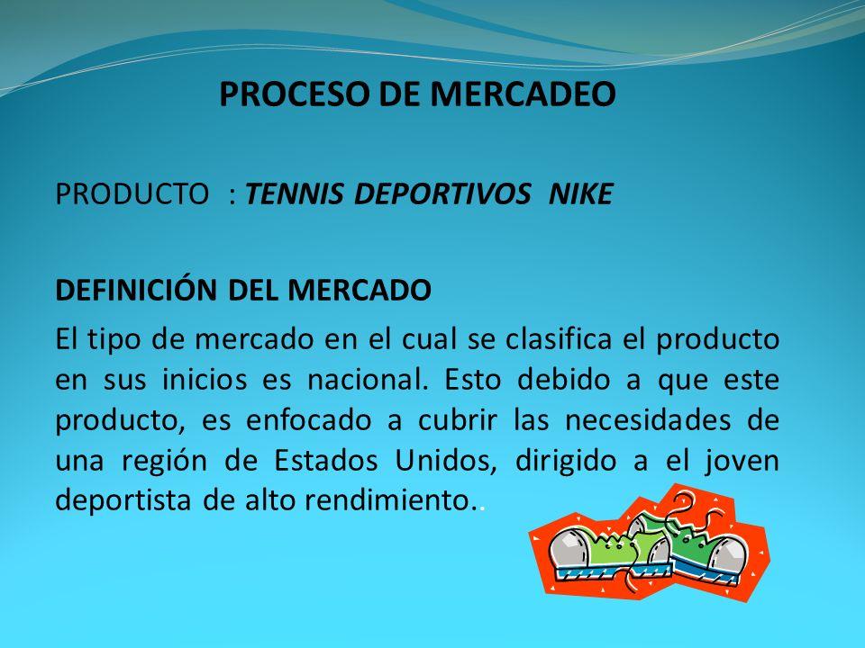 PROCESO DE MERCADEO PRODUCTO: TENNIS DEPORTIVOS NIKE DEFINICIÓN DEL MERCADO El tipo de mercado en el cual se clasifica el producto en sus inicios es n
