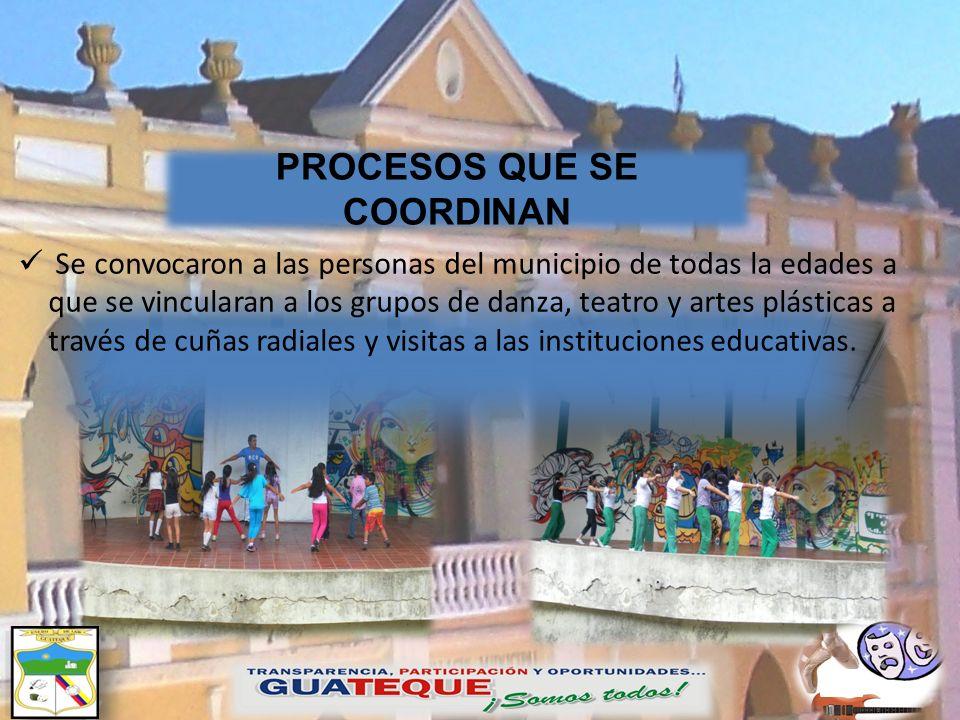 Se convocaron a las personas del municipio de todas la edades a que se vincularan a los grupos de danza, teatro y artes plásticas a través de cuñas ra