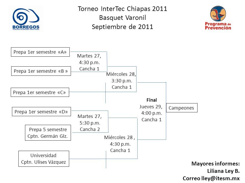 Torneo InterTec Chiapas 2011 Basquet Varonil Septiembre de 2011 Miércoles 28, 4:30 p.m. Cancha 1 Prepa 1er semestre «A» Martes 27, 4:30 p.m. Cancha 1