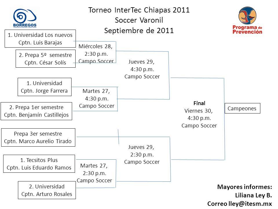 Torneo InterTec Chiapas 2011 Soccer Varonil Septiembre de 2011 Martes 27, 2:30 p.m.
