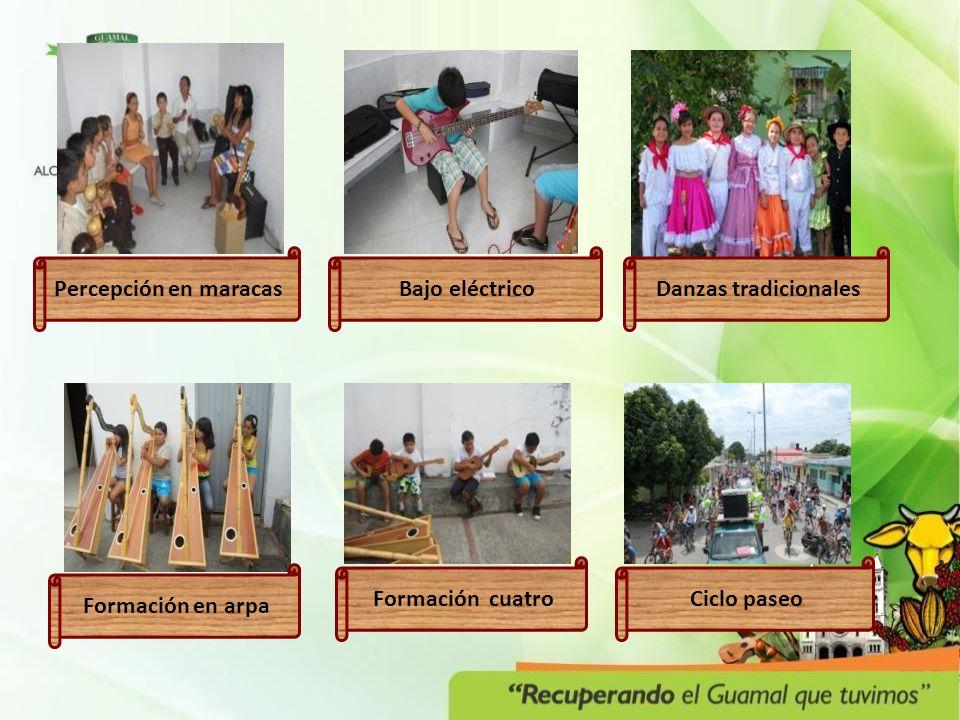 Formación en arpa Formación cuatro Danzas tradicionalesBajo eléctricoPercepción en maracas Ciclo paseo