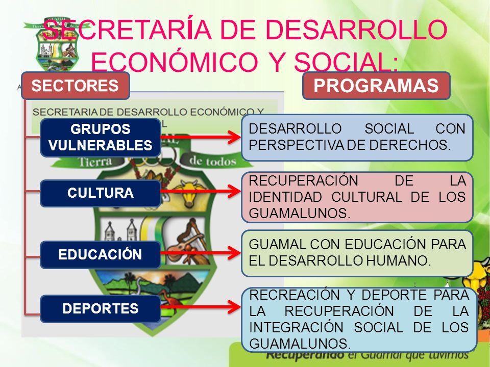 SECRETARÍA DE DESARROLLO ECONÓMICO Y SOCIAL: SECTORES CULTURA PROGRAMAS EDUCACIÓN DEPORTES GRUPOS VULNERABLES DESARROLLO SOCIAL CON PERSPECTIVA DE DERECHOS.