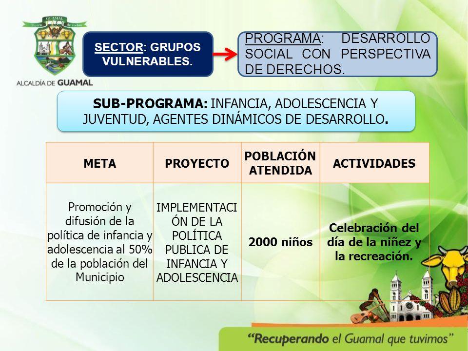 METAPROYECTO POBLACIÓN ATENDIDA ACTIVIDADES Promoción y difusión de la política de infancia y adolescencia al 50% de la población del Municipio IMPLEMENTACI ÓN DE LA POLÍTICA PUBLICA DE INFANCIA Y ADOLESCENCIA 2000 niños Celebración del día de la niñez y la recreación.