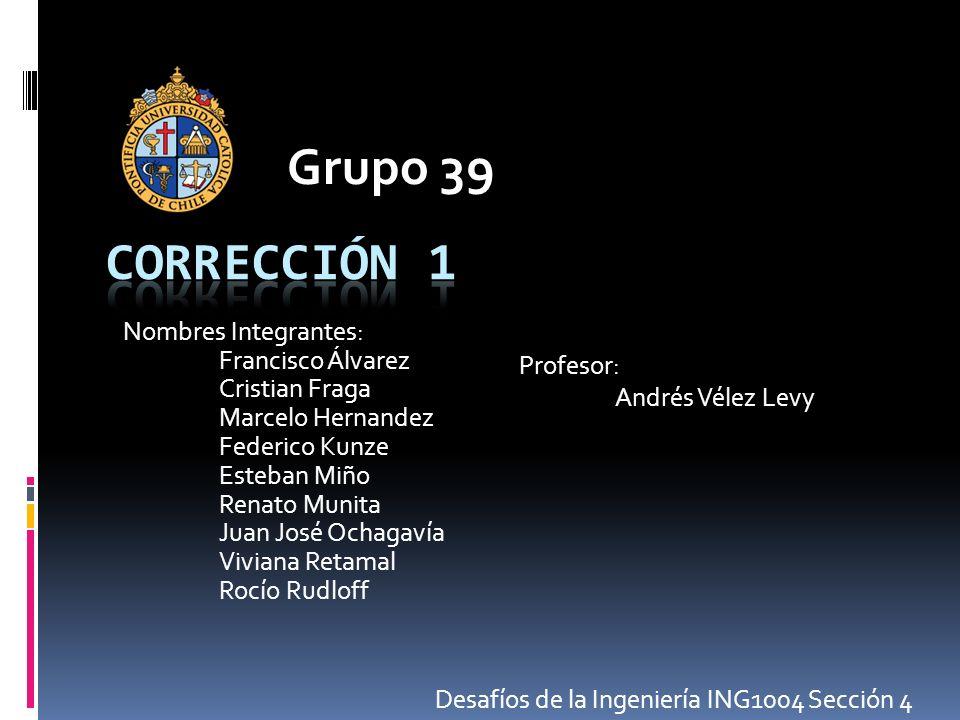 Grupo 39 Nombres Integrantes: Francisco Álvarez Cristian Fraga Marcelo Hernandez Federico Kunze Esteban Miño Renato Munita Juan José Ochagavía Viviana