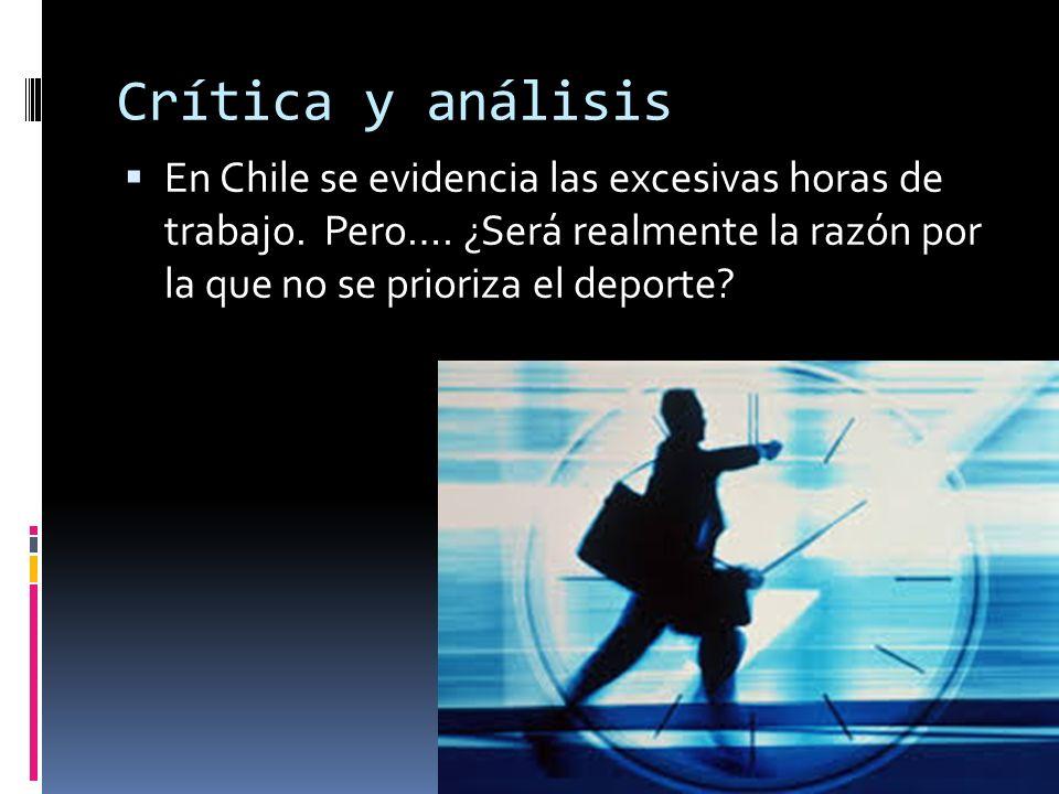 Crítica y análisis En Chile se evidencia las excesivas horas de trabajo. Pero…. ¿Será realmente la razón por la que no se prioriza el deporte?
