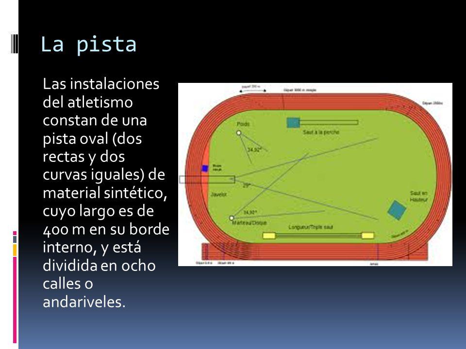 La pista Las instalaciones del atletismo constan de una pista oval (dos rectas y dos curvas iguales) de material sintético, cuyo largo es de 400 m en