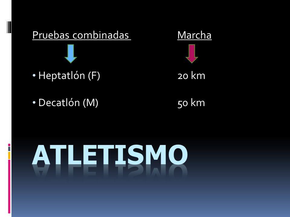 Pruebas combinadas Marcha Heptatlón (F)20 km Decatlón (M)50 km