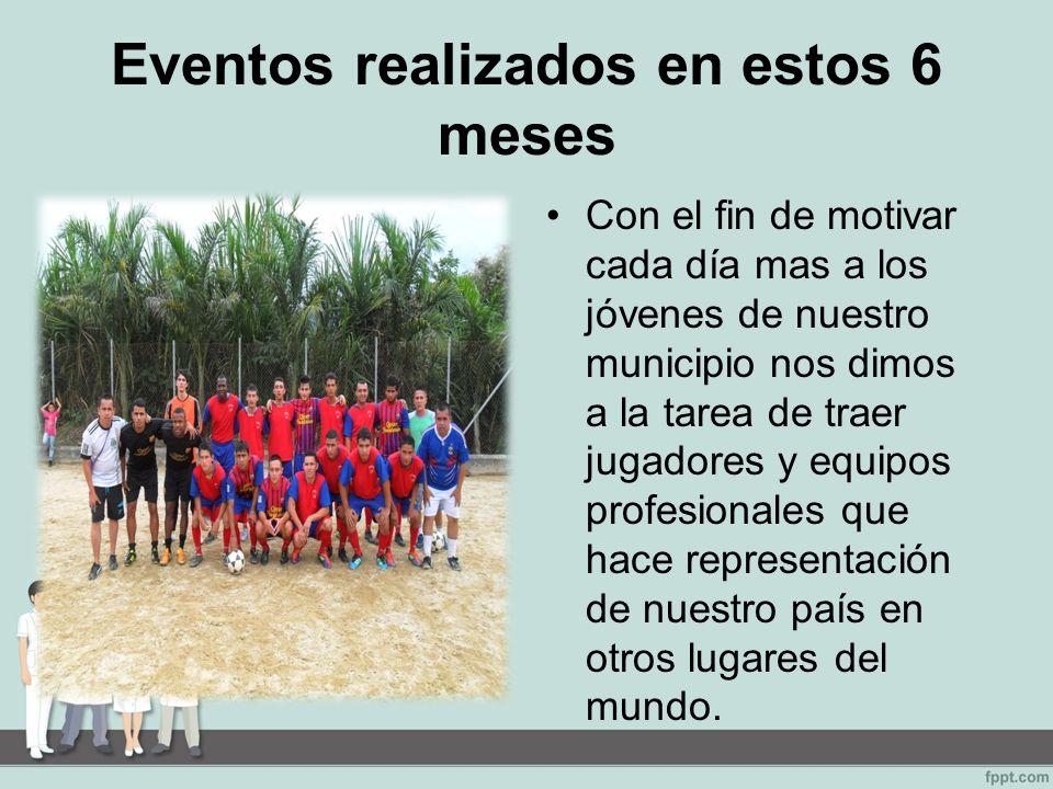 Eventos realizados en estos 6 meses Con el fin de motivar cada día mas a los jóvenes de nuestro municipio nos dimos a la tarea de traer jugadores y equipos profesionales que hace representación de nuestro país en otros lugares del mundo.