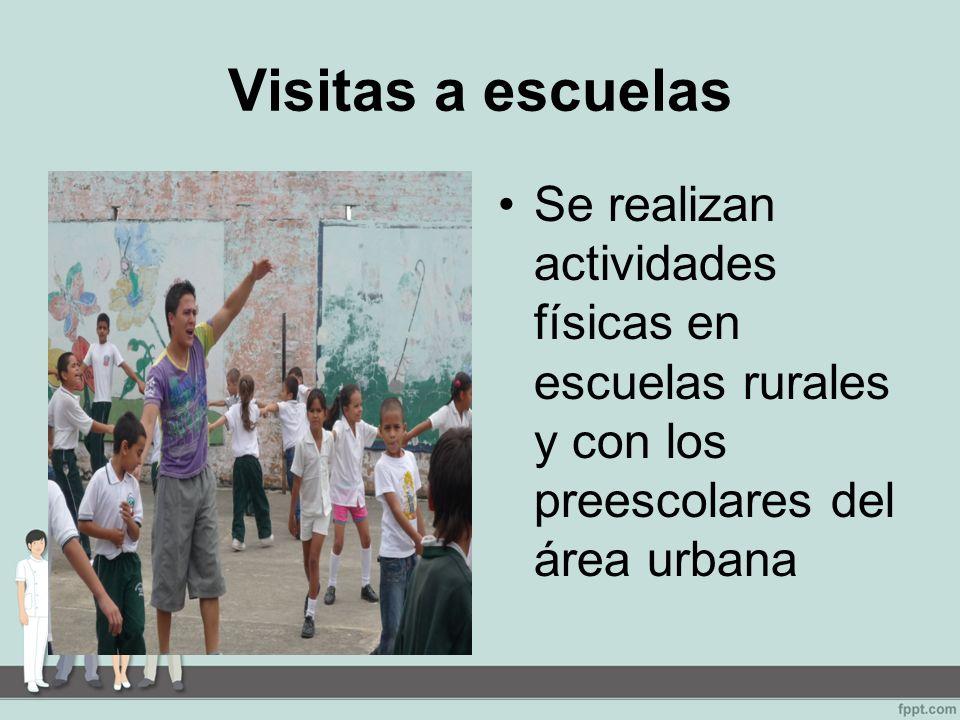 Visitas a escuelas Se realizan actividades físicas en escuelas rurales y con los preescolares del área urbana