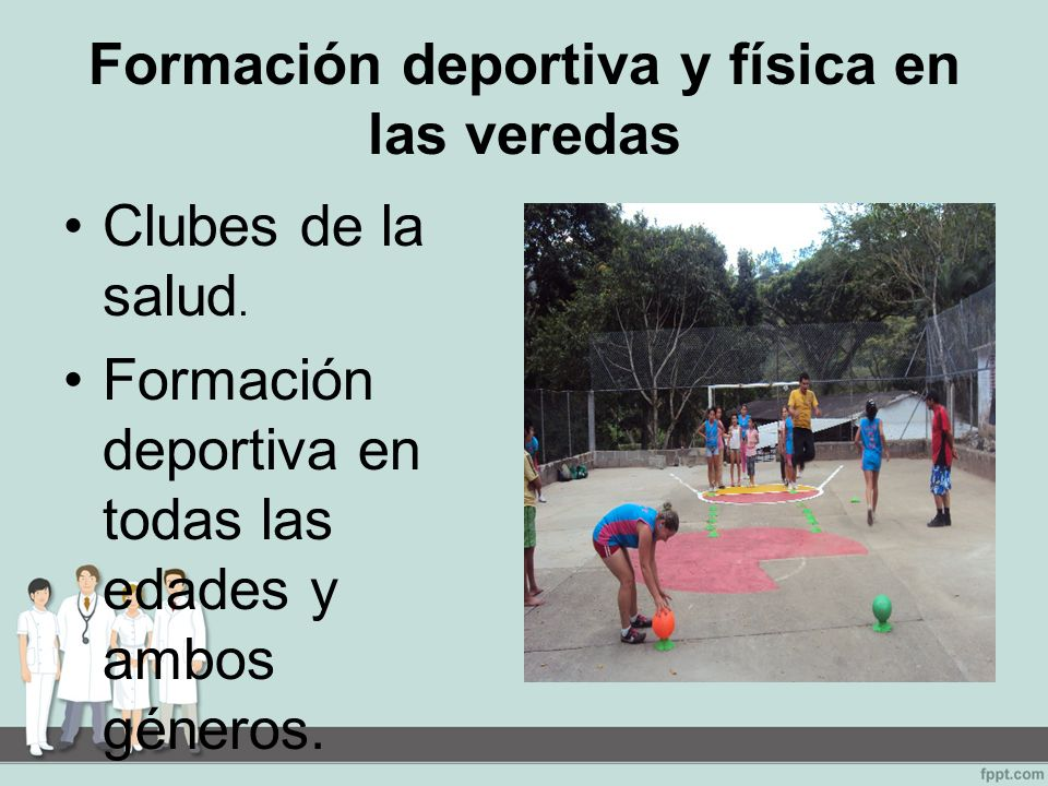 Formación deportiva y física en las veredas Clubes de la salud.