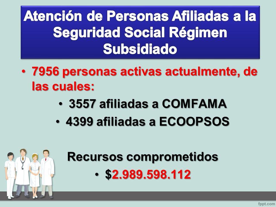 7956 personas activas actualmente, de las cuales:7956 personas activas actualmente, de las cuales: 3557 afiliadas a COMFAMA3557 afiliadas a COMFAMA 4399 afiliadas a ECOOPSOS4399 afiliadas a ECOOPSOS Recursos comprometidos $2.989.598.112$2.989.598.112