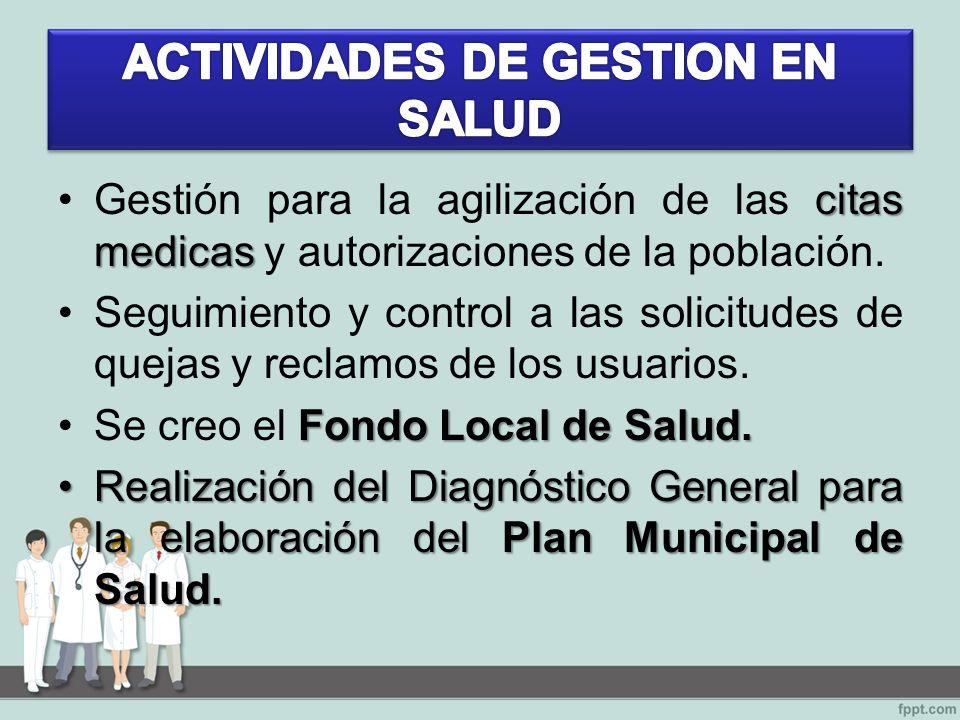 citas medicasGestión para la agilización de las citas medicas y autorizaciones de la población.