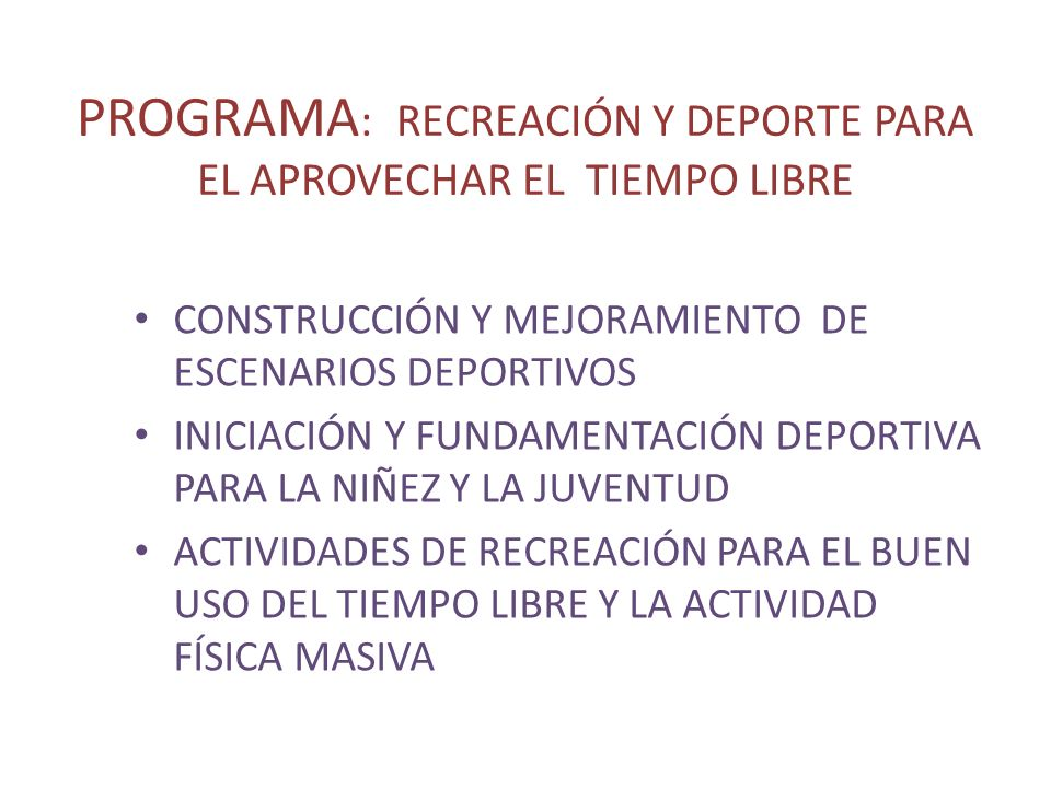 CONSTRUCCIÓN Y MEJORAMIENTO DE ESCENARIOS DEPORTIVOS NoNOMBRE DEL ESCENARIO LOC.TIPO DE ESCENARIOUSOENTIDAD QUE LO ADMINISTRA ESTADO ACTUAL DEL ESCENARIOPARQUE INFANTIL CERR A MIEN TO GRADE RIAS ILU MINACION BAÑOSCUBIER TA PORTI COS TABLE ROS PISOESTADO 1.ESCUELA LA PORTADARURALCANCHA MULTIPLEBALONCESTO-VOLEIBOL- FUT.SAL MUNICIPIORNBNNSRRN 2ESC.