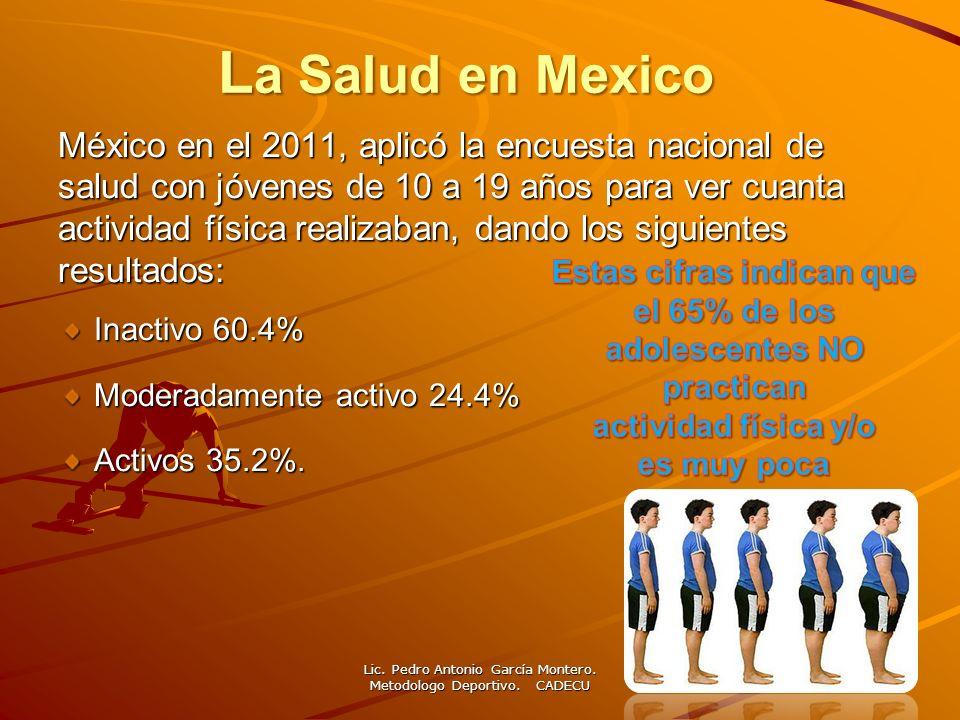 L a Salud en Mexico México en el 2011, aplicó la encuesta nacional de salud con jóvenes de 10 a 19 años para ver cuanta actividad física realizaban, d