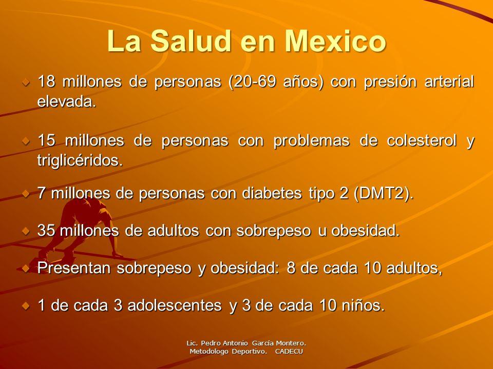 La Salud en Mexico 18 millones de personas (20-69 años) con presión arterial elevada. 15 millones de personas con problemas de colesterol y triglicéri