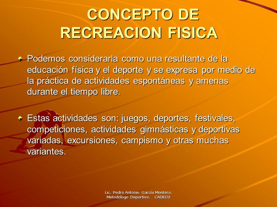 CONCEPTO DE RECREACION FISICA CONCEPTO DE RECREACION FISICA Podemos considerarla como una resultante de la educación física y el deporte y se expresa