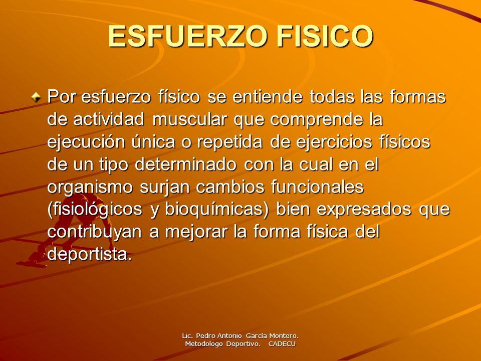 ESFUERZO FISICO Por esfuerzo físico se entiende todas las formas de actividad muscular que comprende la ejecución única o repetida de ejercicios físic
