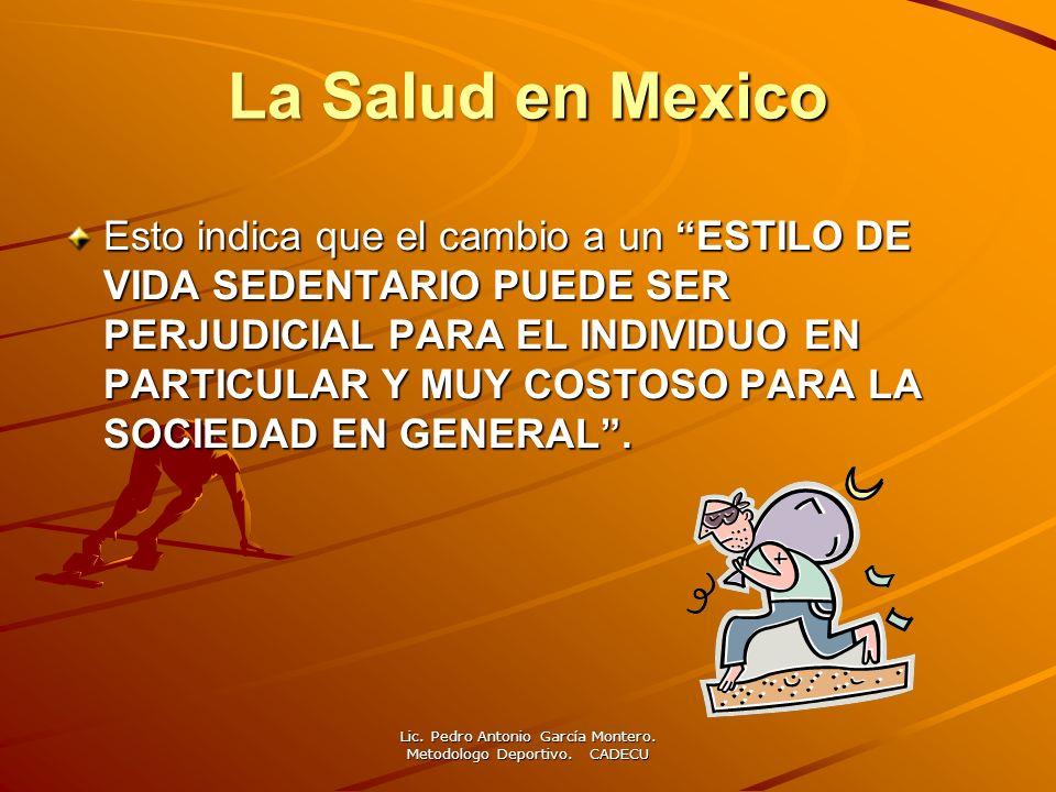 L a Salud en Mexico México en el 2011, aplicó la encuesta nacional de salud con jóvenes de 10 a 19 años para ver cuanta actividad física realizaban, dando los siguientes resultados: Inactivo 60.4% Moderadamente activo 24.4% Activos 35.2%.