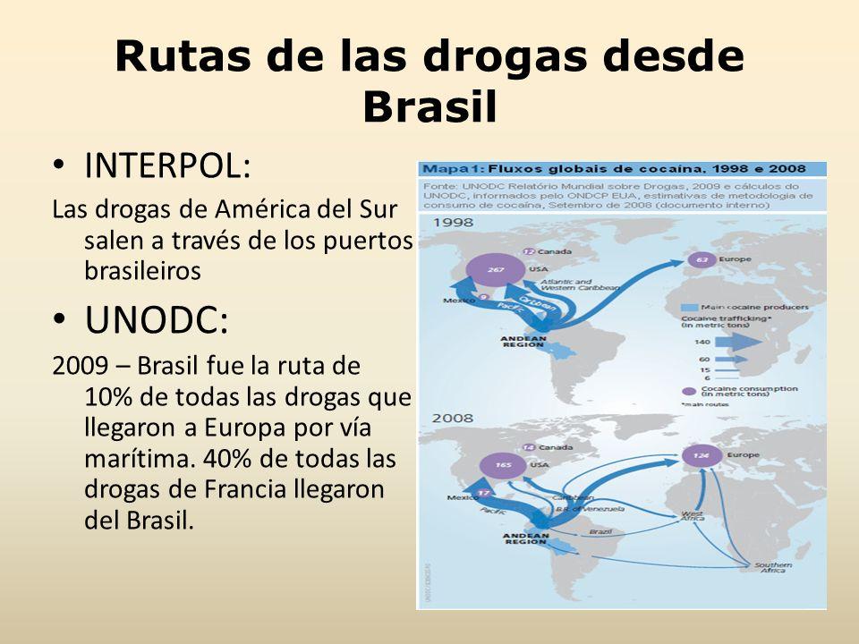 Rutas de las drogas desde Brasil INTERPOL: Las drogas de América del Sur salen a través de los puertos brasileiros UNODC: 2009 – Brasil fue la ruta de
