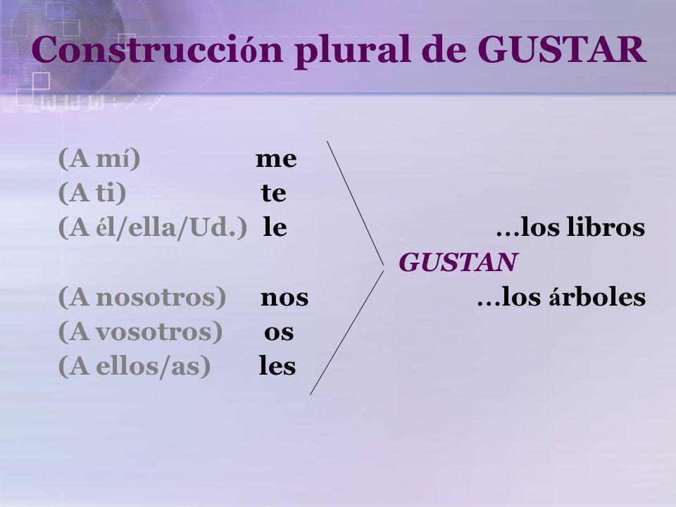 Construcci ó n singular de GUSTAR (A m í ) me (A ti) te (A é l/ella/Ud.) le … el libro GUSTA … nadar (A nosotros) nos … el chocolate (A vosotros) os (A ellos/as) les