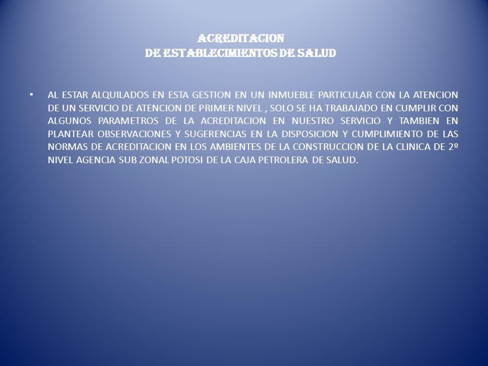 ACREDITACION DE ESTABLECIMIENTOS DE SALUD AL ESTAR ALQUILADOS EN ESTA GESTION EN UN INMUEBLE PARTICULAR CON LA ATENCION DE UN SERVICIO DE ATENCION DE