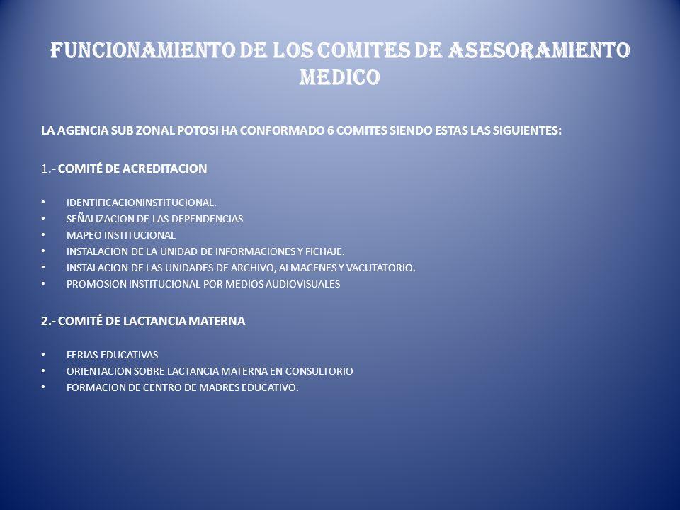FUNCIONAMIENTO DE LOS COMITES DE ASESORAMIENTO MEDICO LA AGENCIA SUB ZONAL POTOSI HA CONFORMADO 6 COMITES SIENDO ESTAS LAS SIGUIENTES: 1.- COMITÉ DE A