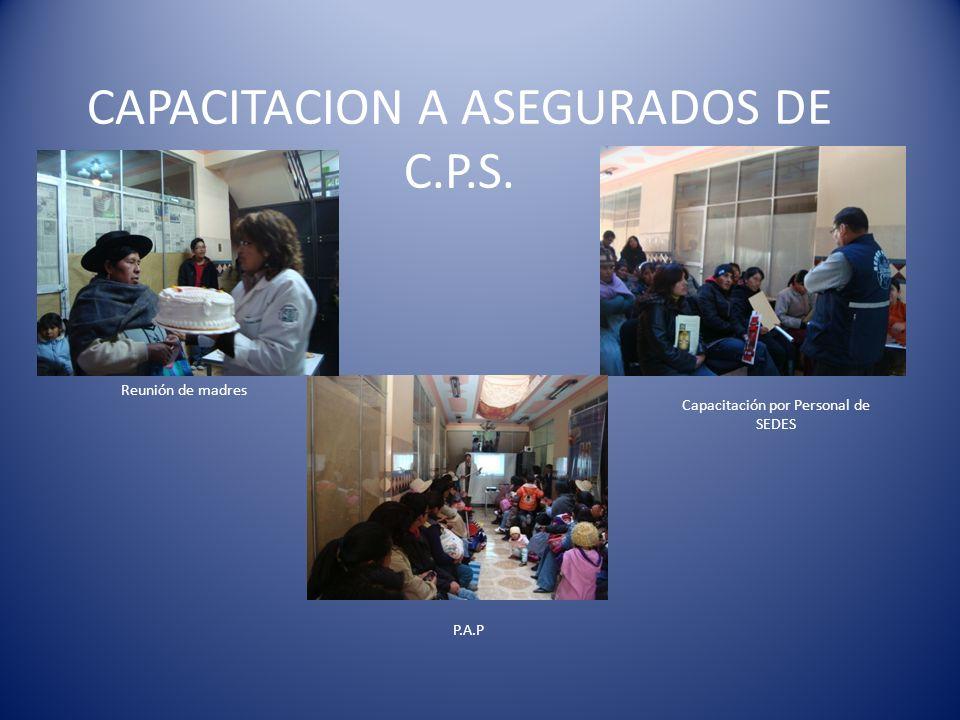 CAPACITACION A ASEGURADOS DE C.P.S. Reunión de madres P.A.P Capacitación por Personal de SEDES