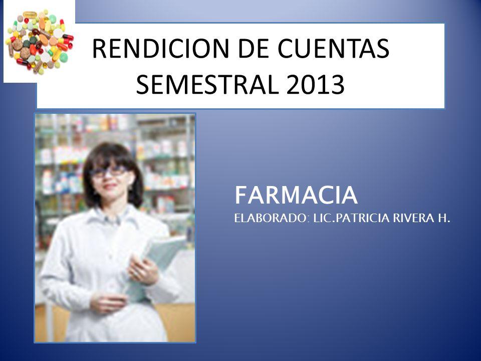 RENDICION DE CUENTAS SEMESTRAL 2013 FARMACIA ELABORADO: LIC.PATRICIA RIVERA H.
