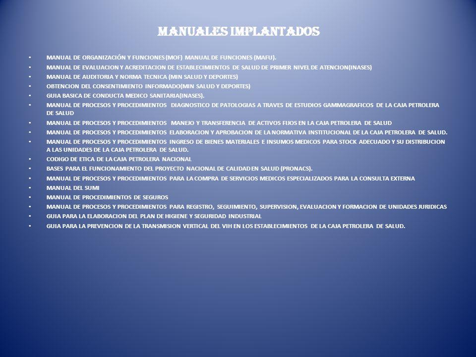 MANUALES IMPLANTADOS MANUAL DE ORGANIZACIÓN Y FUNCIONES (MOF) MANUAL DE FUNCIONES (MAFU). MANUAL DE EVALUACION Y ACREDITACION DE ESTABLECIMIENTOS DE S