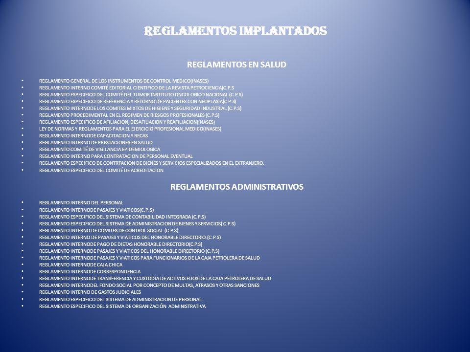 REGLAMENTOS IMPLANTADOS REGLAMENTOS EN SALUD REGLAMENTO GENERAL DE LOS INSTRUMENTOS DE CONTROL MEDICO(INASES) REGLAMENTO INTERNO COMITÉ EDITORIAL CIEN