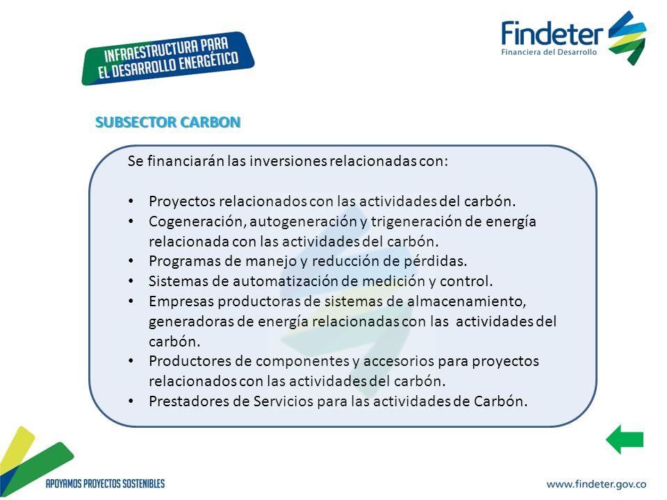 Se financiarán las inversiones relacionadas con: Proyectos relacionados con las actividades del carbón. Cogeneración, autogeneración y trigeneración d