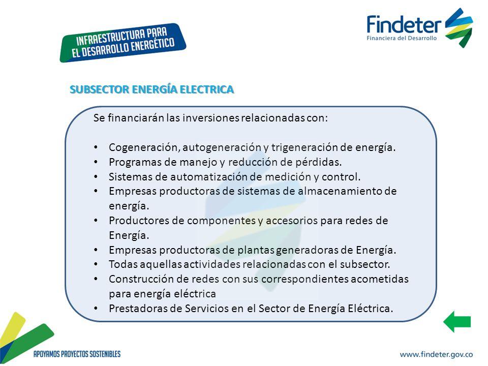 Se financiarán las inversiones relacionadas con: Cogeneración, autogeneración y trigeneración de energía. Programas de manejo y reducción de pérdidas.