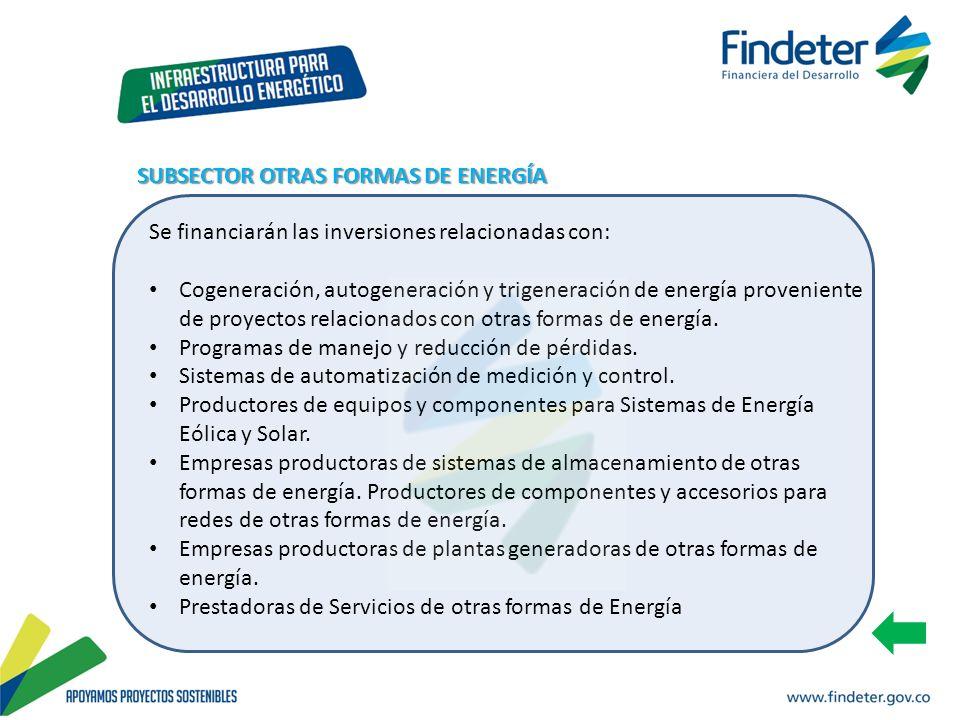 Se financiarán las inversiones relacionadas con: Cogeneración, autogeneración y trigeneración de energía proveniente de proyectos relacionados con otr